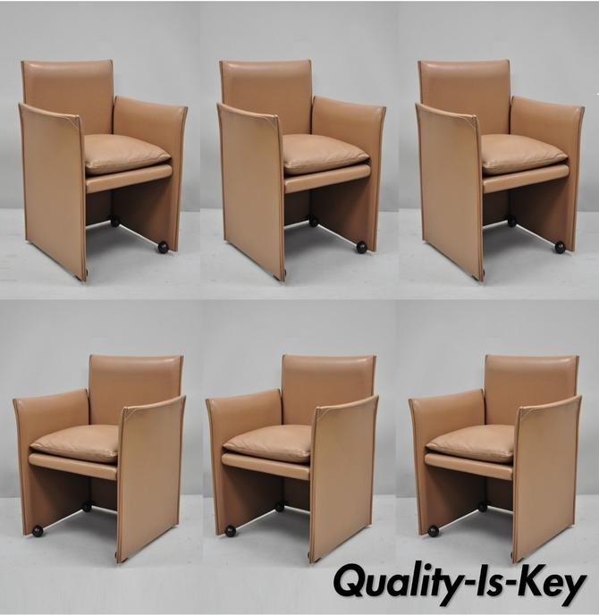 401 Break Armchair by Mario Bellini for Cassina Copper Leather 6 Dining Chairs