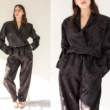 Vintage 80s Norma Kamali Black Floral Silk Jacquard Cropped Broad Shoulder Blouse & High Waist Tapered Pant Set | 1980s OMO Designer Suit by TheVault1969