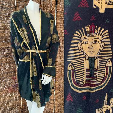 Egyptian Vibe Kimono, Duster, Robe, Metallic Trim, King Tut, Sphinx, Smoking Jacket, Vintage 70s 80s by GabAboutVintage