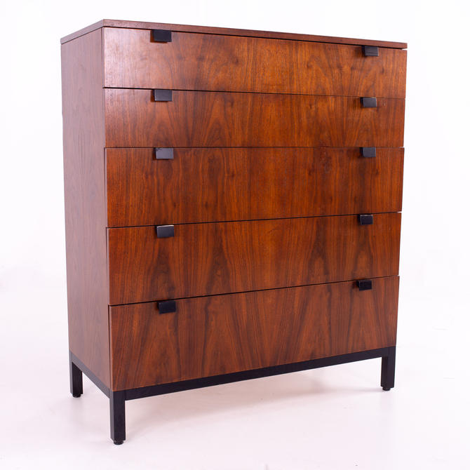 Milo Baughman for Directional Mid Century Walnut 5 Drawer Highboy Dresser - mcm by ModernHill