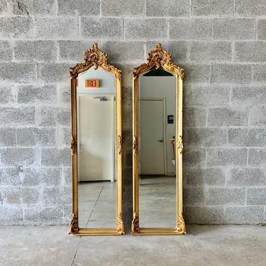 "Vintage Mirror Refinished in Gold Leaf 70"" Tall *Only 1 Available* Vintage Furniture Antique Baroque Mirror Rococo Interior Designer by SittinPrettyByMyleen"