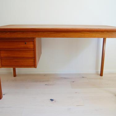 Danish Modern Peter Lovig Nielsen Sliding Top Teak Desk for Lovig Dansk by MidCentury55