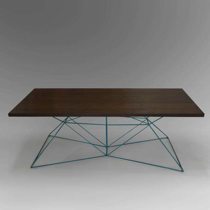 Soild Walnut Dining Table with Modern Geometric Steel Base by PWHFurniture