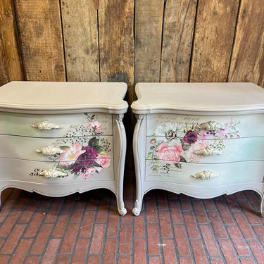 Beautiful pair of vintage French end tables, French refurbished furniture, wood carved night stands, painted with Dixie Belle chalk paint by PeoplewillStare