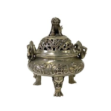 Chinese Silver Color Round Foo Dogs Theme Incense Burner Display ws1607E by GoldenLotusAntiques