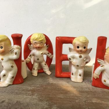 Vintage Shafford Noel Christmas Angel Candle Holders, Blonde Haired Pixie Angels With Red NOEL Letters, Boken L by luckduck