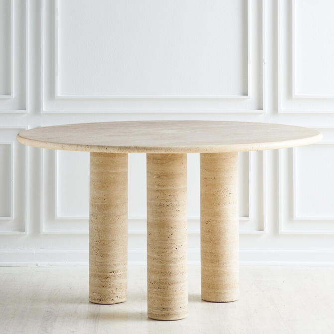 Travertine Column Dining Table in the style of Mario Bellini