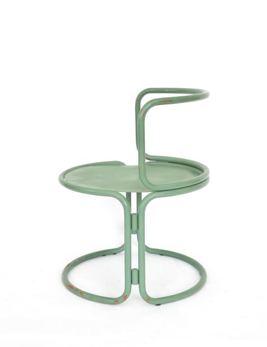 Gae Aulenti Style Locus Solus Italian Tubular Metal Green Chair
