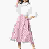 Pink Flower Print Skirt