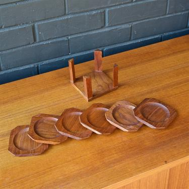 Anri Form Teak Coaster Set Drink Cocktail Tableware Vintage Danish Scandinavian Mid-Century Studio Craft Bar Table Decor Dansk by BrainWashington