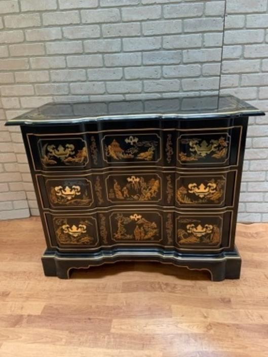 Chinoiserie Style Drexel Painted Three Drawer Dresser and Wall Mirror - 2 Piece Set