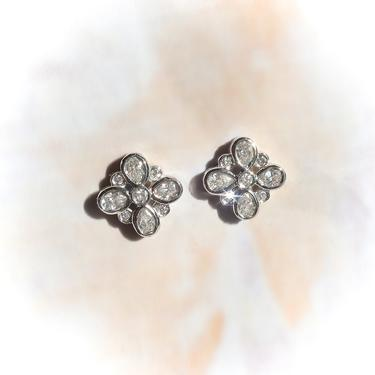 Estate Tiffany & Co .36ct.tw. Diamond Square Floral Earrings Platinum by YourJewelryFinder