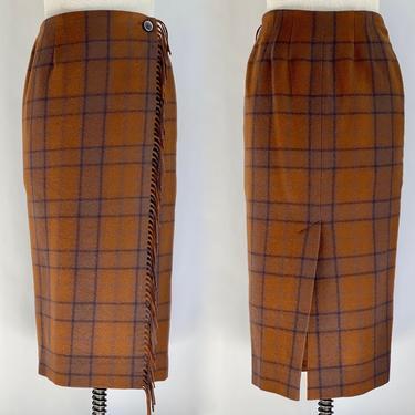 Wool Plaid Wrap Skirt Orange Brown and Black by BeggarsBanquet