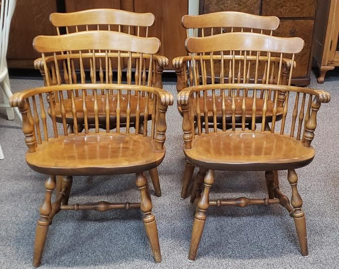 Item #SS2 Set of Four Maple Windsor Dining Chairs by Nichols & Stone c.1960s