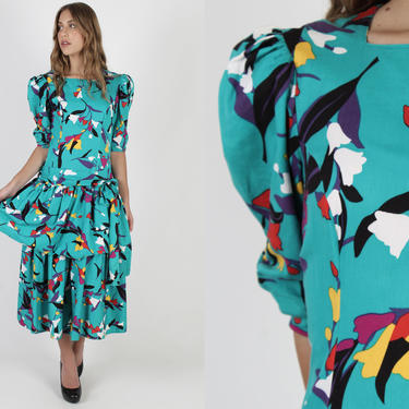Bright Teal Abstract Print Dress / Vintage 80s Bright Floral Dress / Aqua Cotton Puff Sleeve Party Outfit / Full Tiered Skirt Maxi Dress by americanarchive