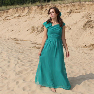 s.a.l.e. Vintage 70s House of Bianchi Dress - Teal Blue Bridesmaid Party A-Line Maxi Dress - XS by SecondShiftVintage