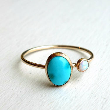 Turquoise and Opal Orbit Ring in 14k Gold Fill Ring - Delicate two stoned rachel pfeffer handmade ring with turquoise and opal stones by RachelPfefferDesigns