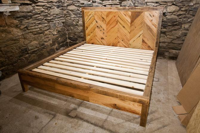The Chalet -- Chevron Style Bed from Reclaimed Wood by BarnWoodFurniture