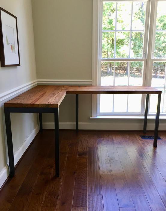 CUSTOM: Reclaimed Wood L Shaped Desk by arcandtimber