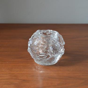 Vintage Scandinavian Modern Kosta Style Glass Snowball Votive Candle Holder, in the manner of Ann Warff, Sweden by SourcedModern