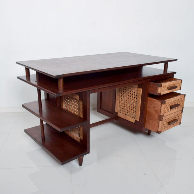 Mexican Modernist Solid Mahogany & Seagrass Panel Desk Michael Van Buren by AMBIANIC