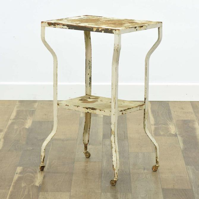 White Metal Industrial End Table W Casters