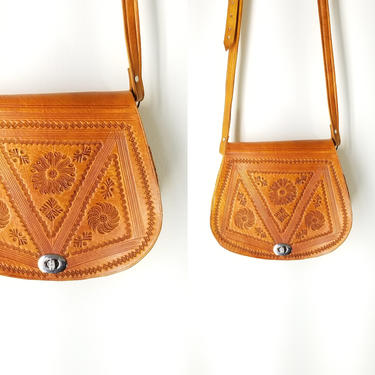 Vintage 70s Tooled Leather Crossbody Bag ~ Shoulder Bag Purse ~ Blonde Honey Leather ~ Long Drop ~ Natural Hippie Boho Style ~ Unisex Design by SoughtClothier