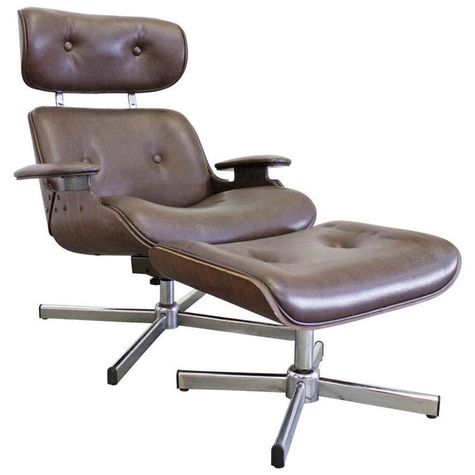 Mid-Century Modern George Mulhauser Plycraft Swivel Lounge Chair & Ottoman by AnnexMarketplace
