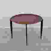 Danish Modern Accent Table / Serving Tray with Collapsible Legs in Teak