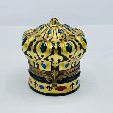 Vintage Peint Main Limoges France Royal Crown Trinket Box Fleur de Lis  Hand Painted by JoAnntiques