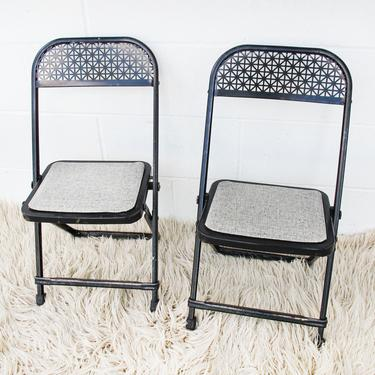 Set of 2 Distressed  Black and Grey Metal Kids Folding Chairs by PortlandRevibe