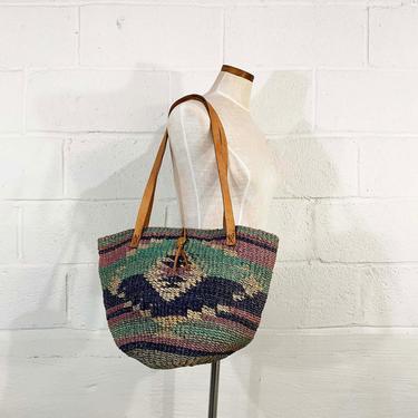 Vintage Sisal Market Bag Woven Tote Leather Shoulder Straps Beach Weekender Carryall Pink Jute Boho Weave Purse Handbag Purse Philippines by CheckEngineVintage