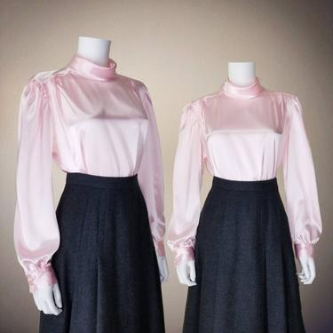 Vintage Liquid Satin Blouse, Medium Large / Pink High Neck Blouse / Silky Cocktail Blouse / 1980s Ruched Neck Top / Long Sleeve Dress Blouse by SoughtClothier