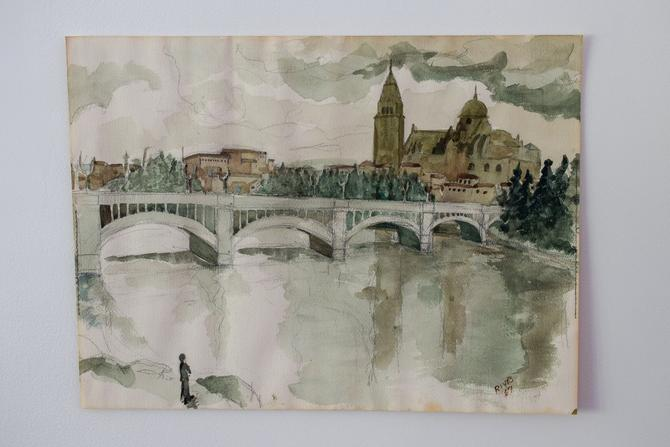 "Vintage Watercolor of Salamanca, Spain signed ""Rives '67"" by CapitolVintageCharm"