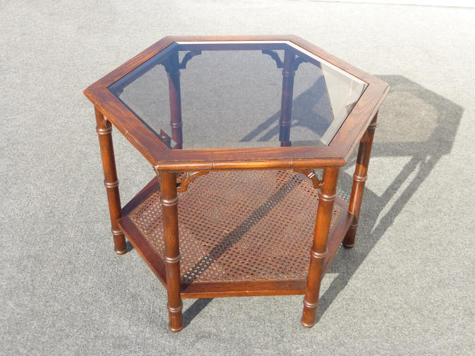 Vintage Mid-Century Modern Six Sided Two Tier Smokey Glass & Cane Coffee Table by VintageLAfurniture