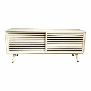 Made Goods Mid-Century Modern Style White Raffia Finished Adali Console Table