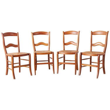 Set of Four Country French Rush Seat Dining Chairs by ErinLaneEstate