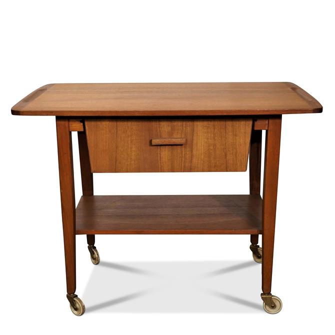 Original Danish Mid Century Teak Sewing Table / Bar Cart - Malling by LanobaDesign