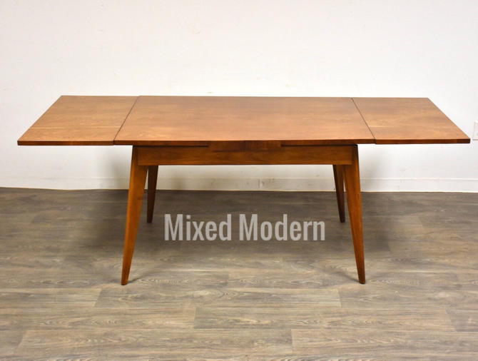 French Walnut Mid Century Draw Leaf Dining Table by mixedmodern1