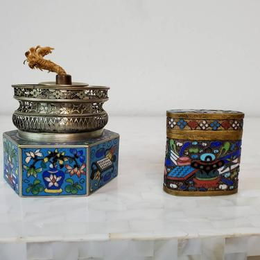 Antique Qing Dynasty Cloisonne Enamel Opium Lamp & Box by LynxHollowAntiques