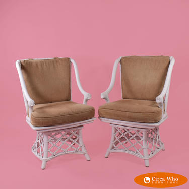 Pair of Ficks Reed Swivel Chairs