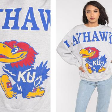 Kansas Jayhawks Sweatshirt Spellout University Sweatshirt 90s Football KU City Graphic College Sweater Vintage Grey Medium Large by ShopExile