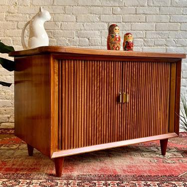 RARE Mid Century Modern Walnut Credenza / Liquor BAR Cabinet with Tambour Doors by CIRCA60