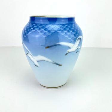 Vintage Kjobenhavn B&G Denmark Porcelain Vase Seagulls Birds Blue Delicate Danish Ceramic by HouseofVintageOnline