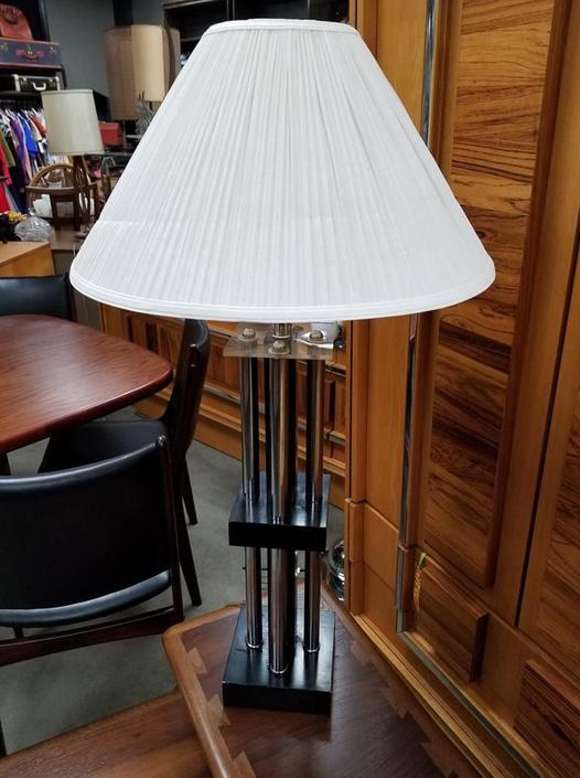 Mid-Century Modern chrome and lucite table lamp