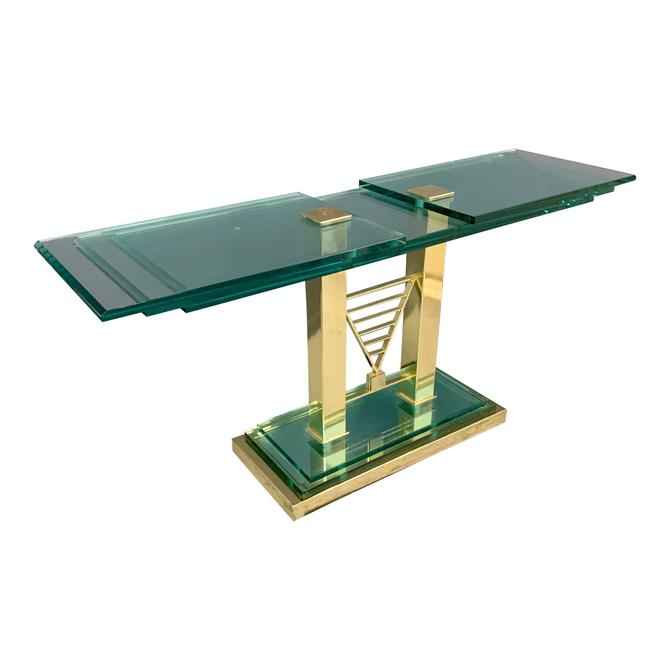 Postmodern Console Table in Glass and Brass By DIA