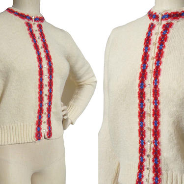 Vintage 60s Shetland Wool Cardigan Sweater M by MetroRetroVintage