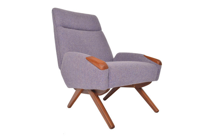 Danish Mid Century Modern Teak Pawed Highback Lounge Chair in Lavender Wool by MidCenturyMobler