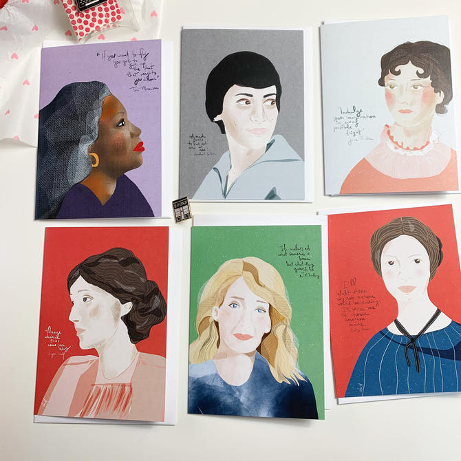 Mother's Day Gift box - Iconic Women Writers set of cards by VioletredStudio