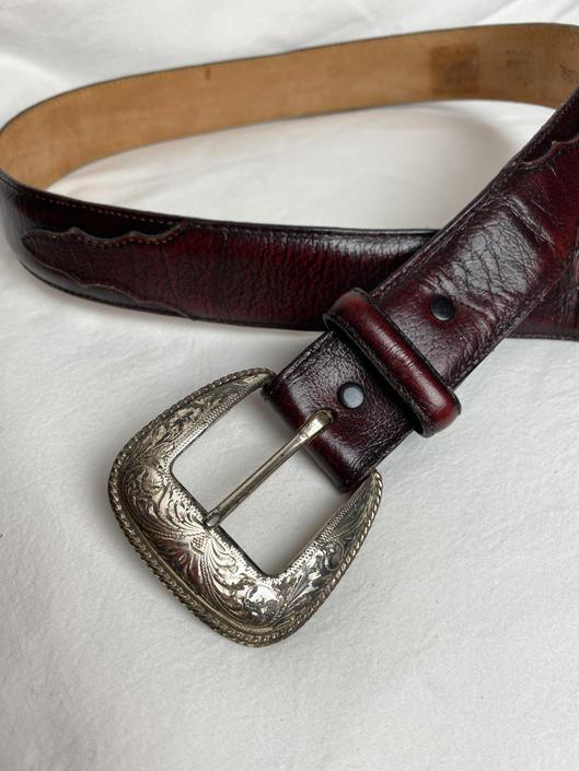 Burgundy Tony Lama leather belt with ornate silver buckle southwestern / western style men's belt~ size 36 LG by HattiesVintagePDX
